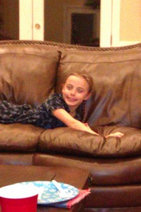 Caroline on the couch